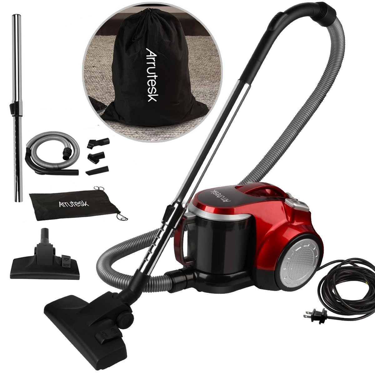 Arrutesk Upright Cyclonic Vacuum Cleaner, Household Multi-Cyclonic Bagless Canister Vacuum, 700W 15-17KPA Suction with Storage Bag (Pccbie US 629)
