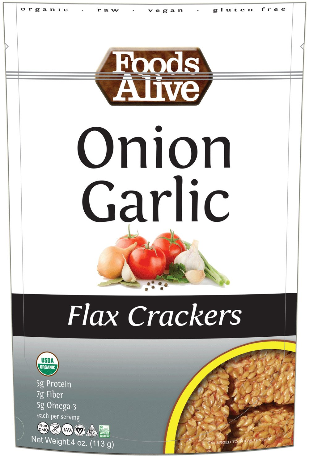Foods Alive Flax Crackers Onion Garlic 4 oz 113 g