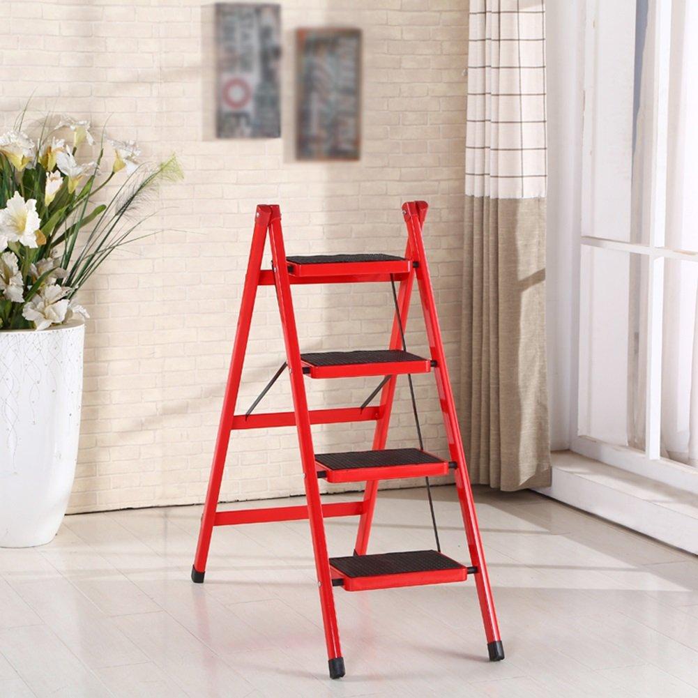 4段折り畳みラダー家庭4段階4段二重使用屋内スツールノンスリップペダルヘリングボーン (色 : 赤) B07D9XRM3L 赤 赤