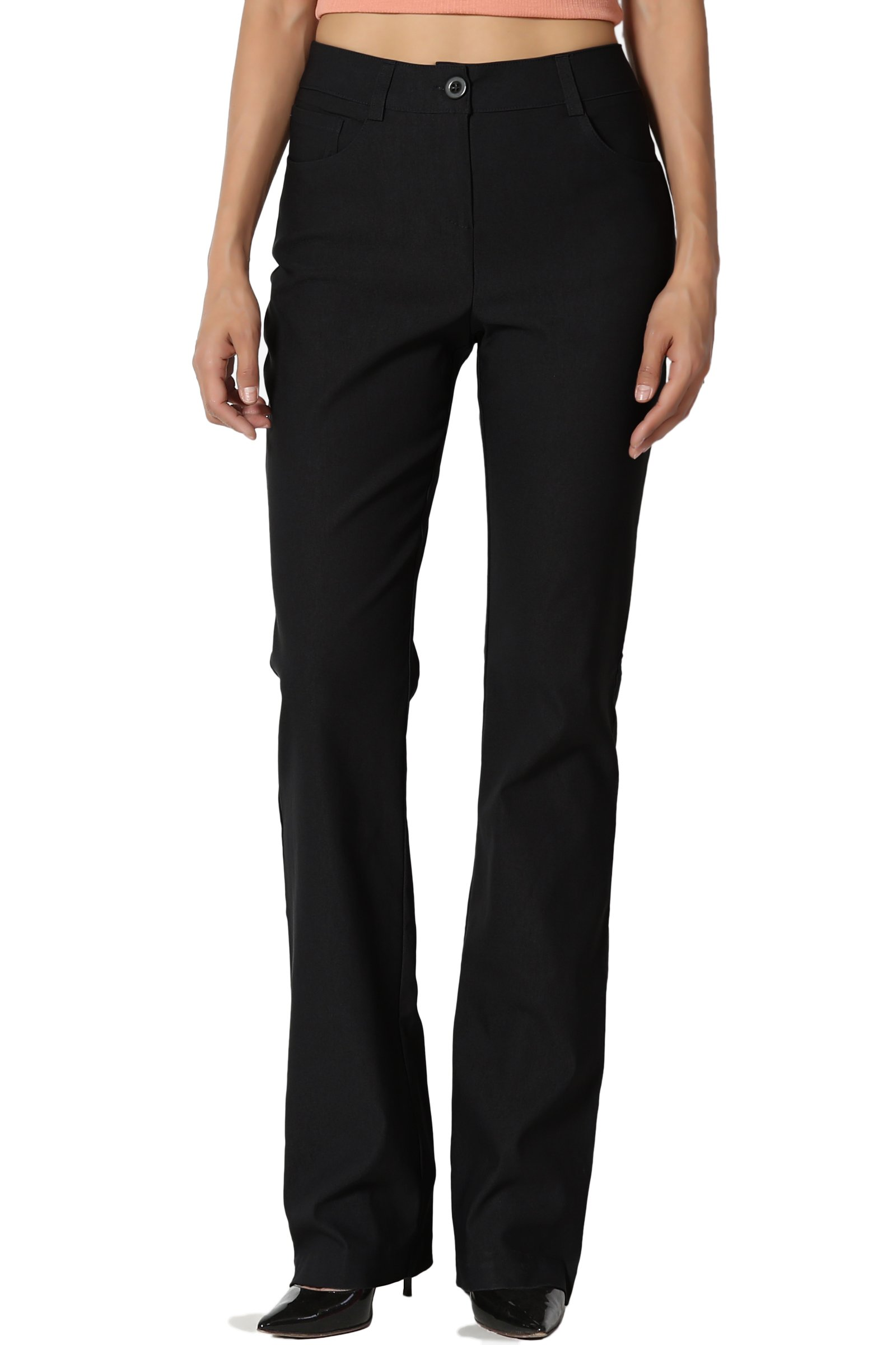 TheMogan Women's Straight Bootcut Stretch Woven Trouser Pants Work to Play Black L