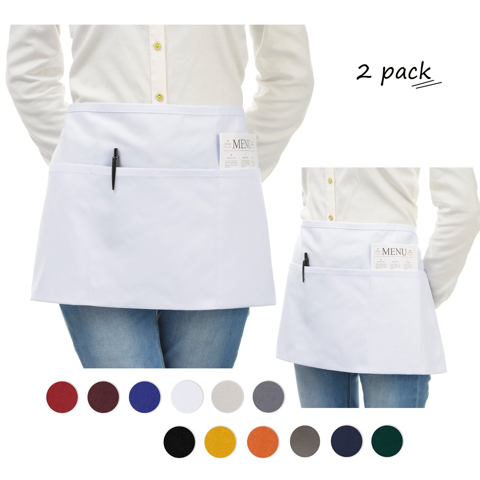 VEEYOO Stylist Waist Chef Apron with Pockets, Set of 2, Durable Spun Poly Cotton, Restaurant Short Bistro Half Aprons for Men Women, 24x12 inches, White