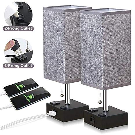 Lámpara de mesa USB, luz de noche de noche de tela cuadrada gris ...
