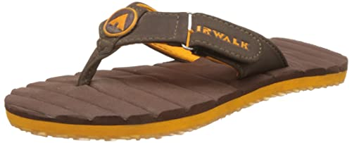ab3e5cea8617d Airwalk Boy s Flip Flop Brown and Orange Synthetic Flip-Flops and House  Slippers - 13C