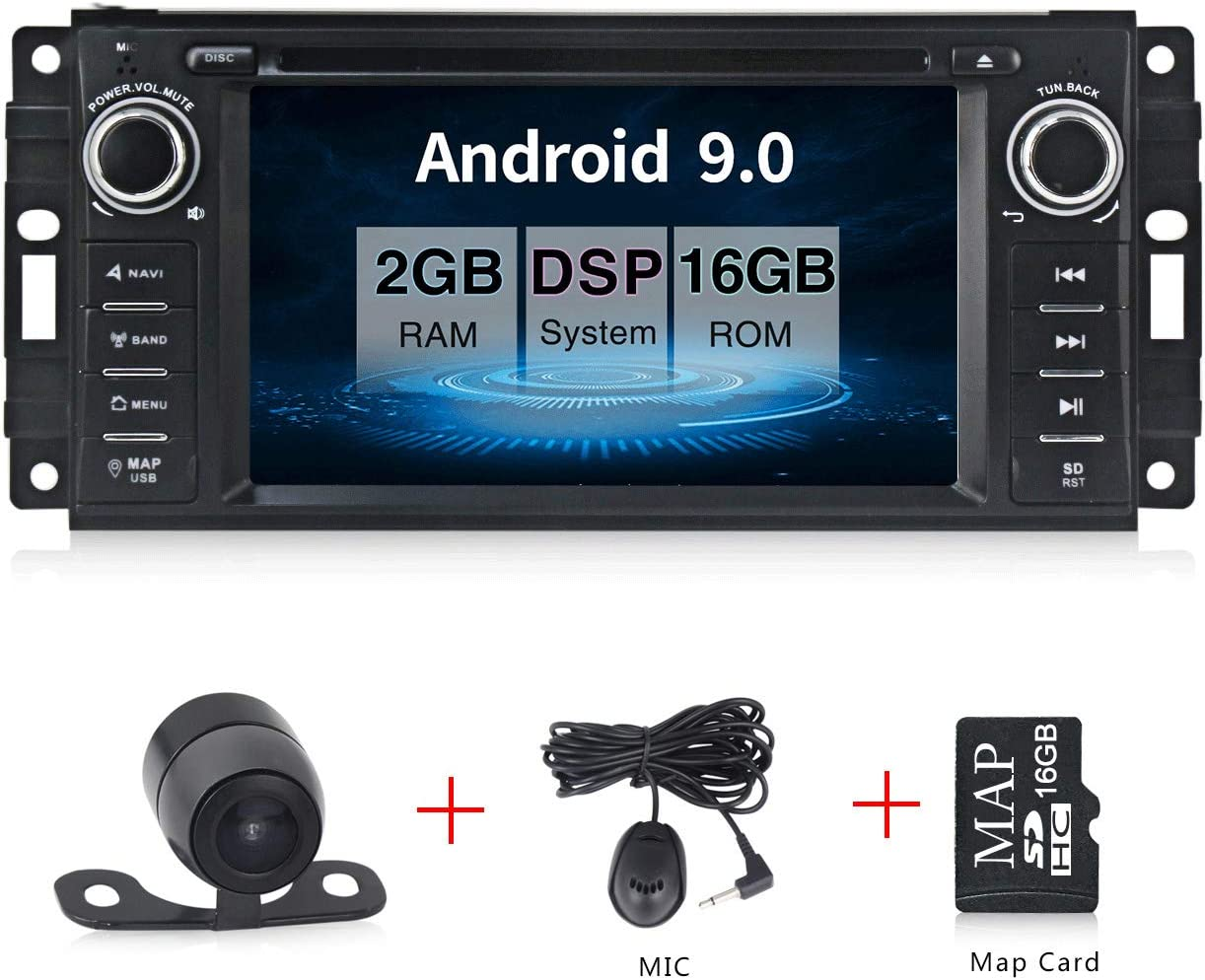 """Android 9.0 Car Stereo CD DVD Player in Dash Car Radio Multimedia Player Navigation System with 6.2"""" LCD Bluetooth WiFi GPS for Jeep Wrangler Dodge Chrysler"""