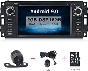 "Android 9.0 Car Stereo CD DVD Player in Dash Car Radio Multimedia Player Navigation System with 6.2"" LCD Bluetooth WiFi GPS for Jeep Wrangler Dodge Chrysler"