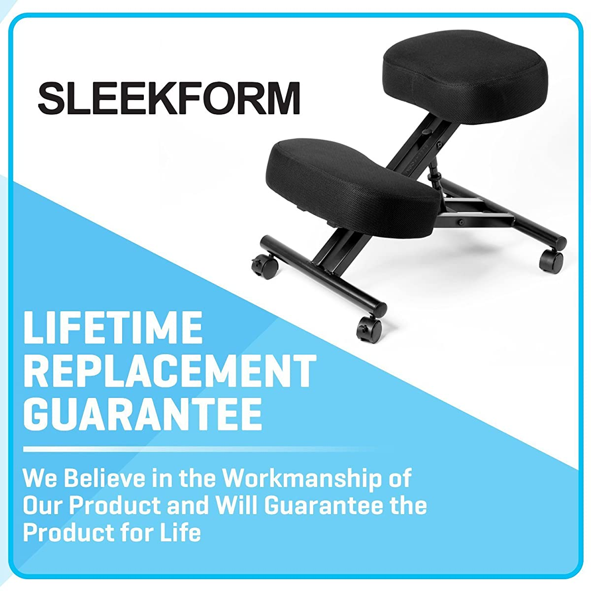 "Sleekform Kneeling Chair for Perfect Posture | Ergonomic Knee Stool Relieving Back & Neck Pain | Adjustable Height, Rolling Wheels & Washable Mesh for Office & Home | 4"" Soft & Comfortable Cushions"