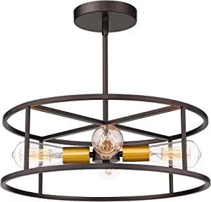 Jazava 18 inches Semi Flush Mount Ceiling Light, 4-Light Hanging Pendant Lighting, Cylinder Geometric, Oil Rubbed Bronze and Brass Finish