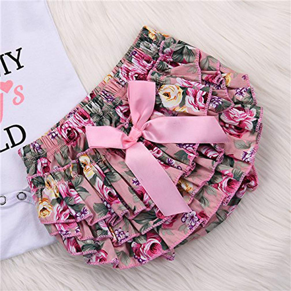 Headband Outfit Set Bow-Knot Floral Shorts Pants 3PCS Newborn Toddler Baby Girl Romper Jumpsuit Short Sleeve Bodysuit
