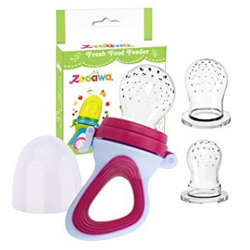 Zooawa Baby Food Feeder, Soft Silicone Mesh Fruit & Food Feeder Pacifier Teether Feeding Pacifier...