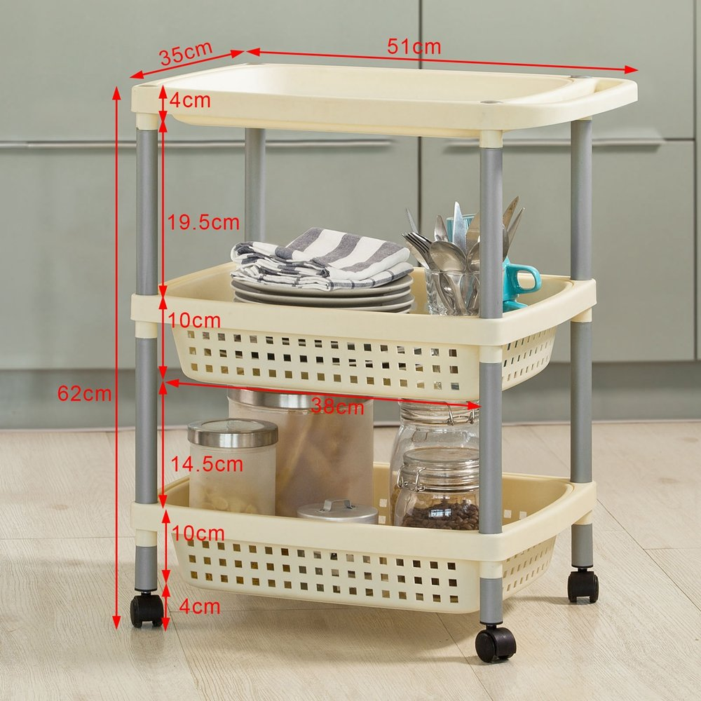 SoBuy® baño estante, carrito, almacenamiento carro, técnicos carro, carrito de cocina con 2 cestos extraíbles y una bandeja de plástico resistente, ...