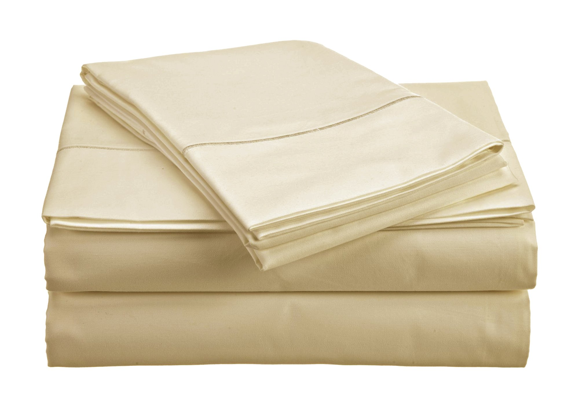 CHATEAU HOME COLLECTION 800-Thread-Count Egyptian Cotton Deep Pocket Sateen Weave Sheet Set (SPLIT KING, Ivory)