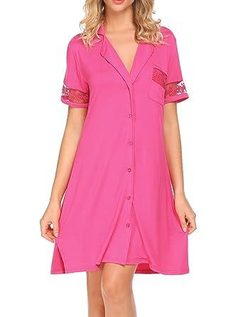 HOTOUCH Women s SleepShirt Sleep Shirt Button Down Short Sleeve Pajama  Shirt Sleepwear Rose S bb72c8b79