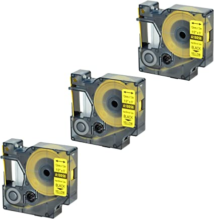 "Heat-Shrink Tube 18056 Black on Yellow Label Tape for DYMO Rhino 1000 12mm 1//2/"""