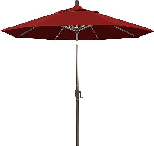 California Umbrella 9 Round Aluminum Market Umbrella, Crank Lift, Auto Tilt, Champagne Pole, Fade Resistant Red Fabric