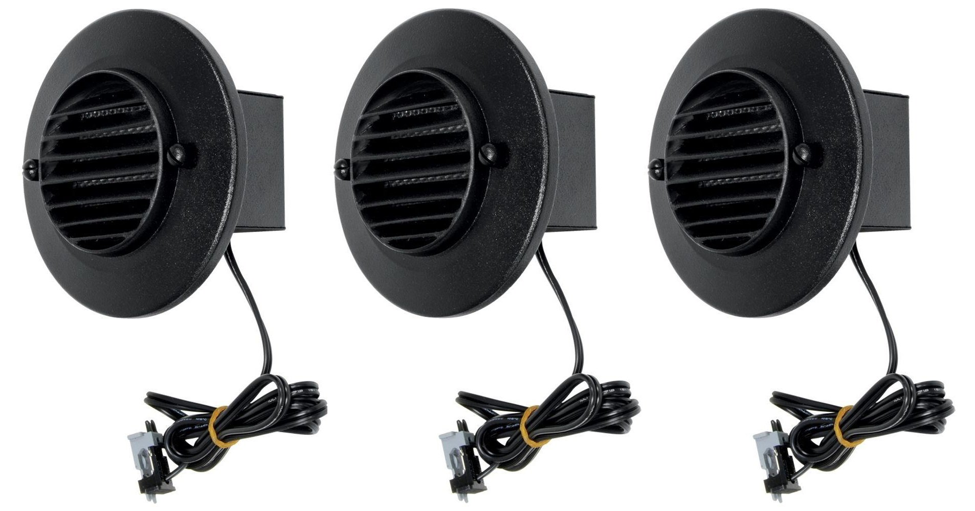 3 Pack Malibu 8401-9403-03 LED Deck Step Round Recessed Lights Low Voltage with Black Finish by Malibu Distribution