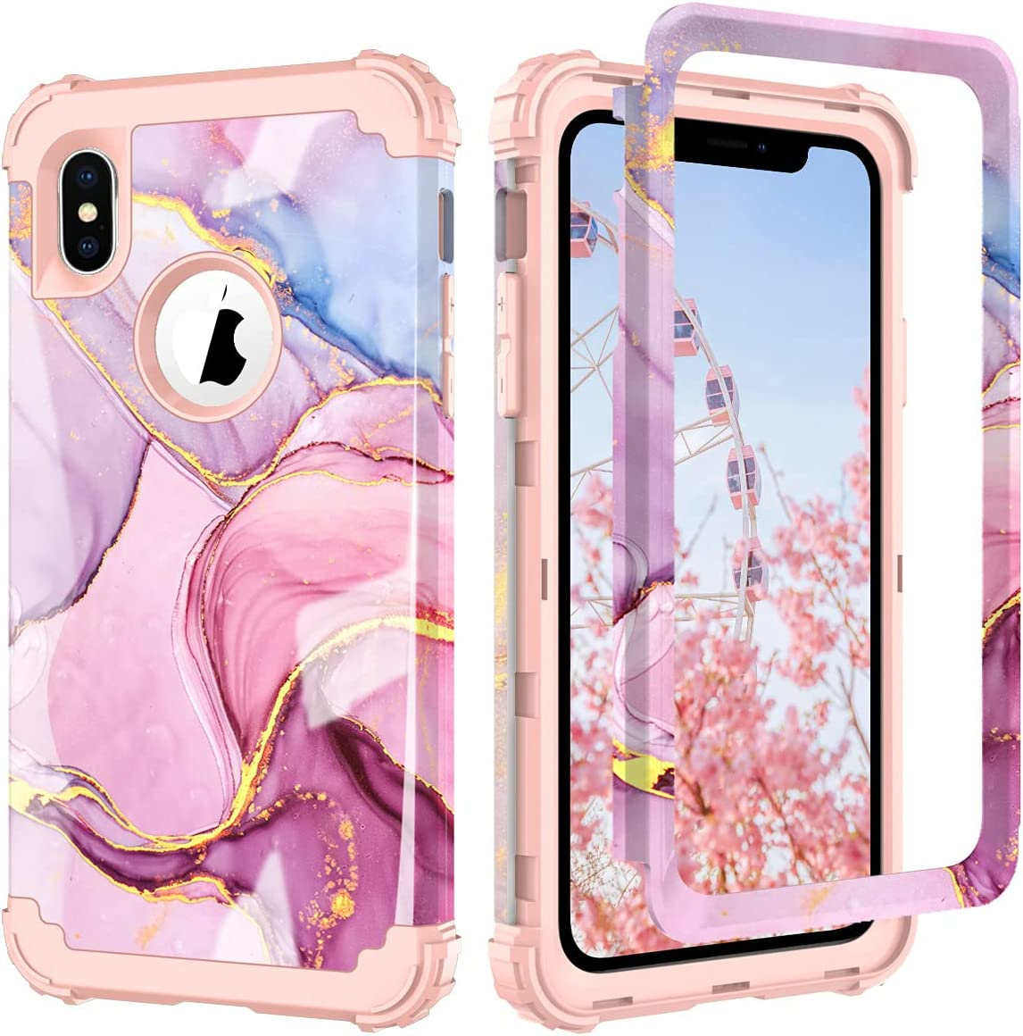 PIXIU for iPhone Xs Max case,3 in 1 Hybrid Hard PC Soft Rubber Heavy Duty Rugged Shockproof Protective Phone Cover for iPhone Xs Max 6.5 Inch 2018 Released (Purple Marble)