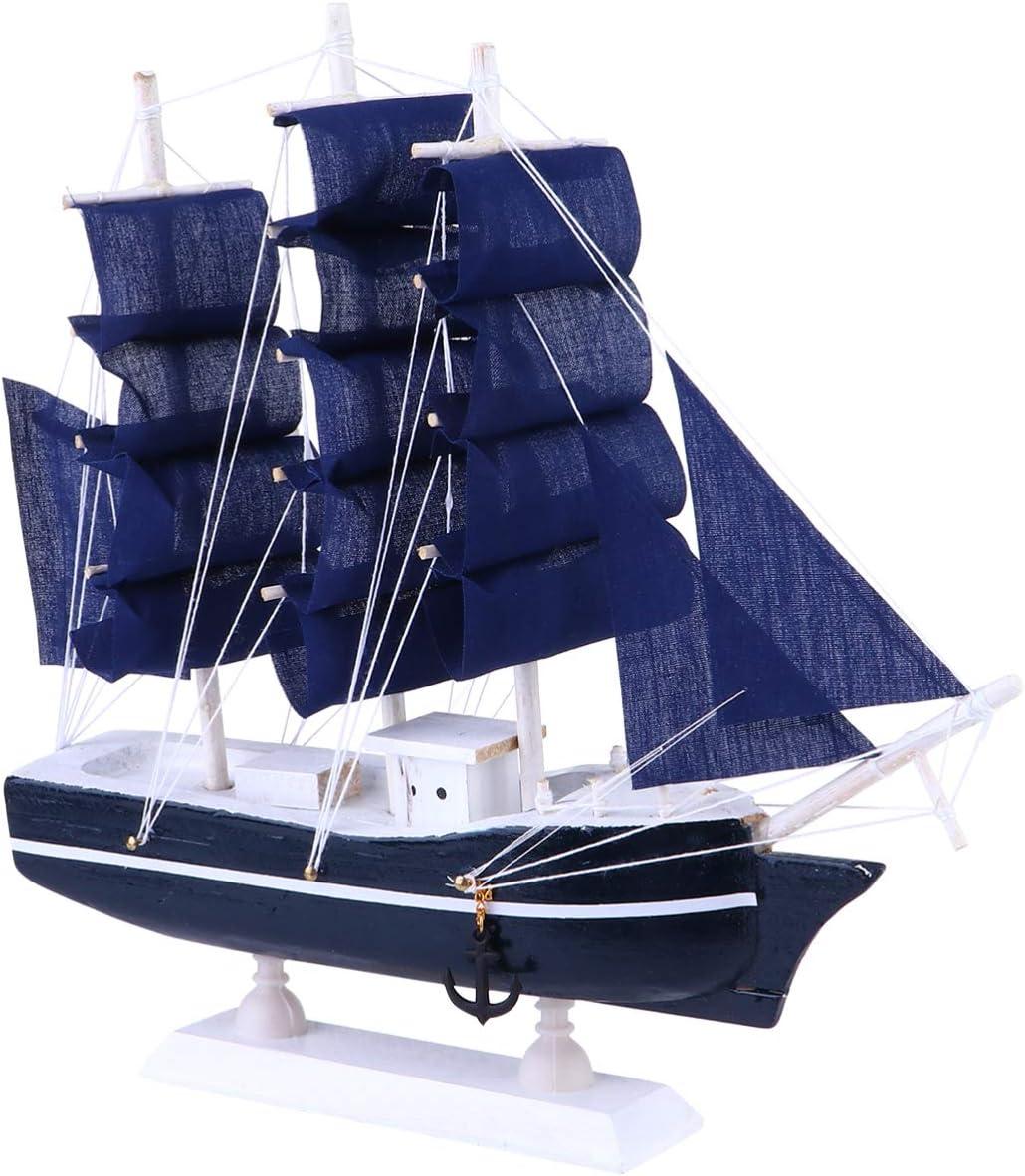 Wakauto Sailing Ship Model Decor Nautical Sail Ship Sailboat Vintage Ship Model for Tabletop Ornament Ocean Theme Home Decor (Blue,Navy)