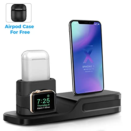 finest selection a92ae 628a1 Derhom 3in1 Silicone Charging Stand Dock Compatible for Apple  Watch/Airpods/iWatch/iPhone X 8 7 6 Plus[Gift a Airpods Case]