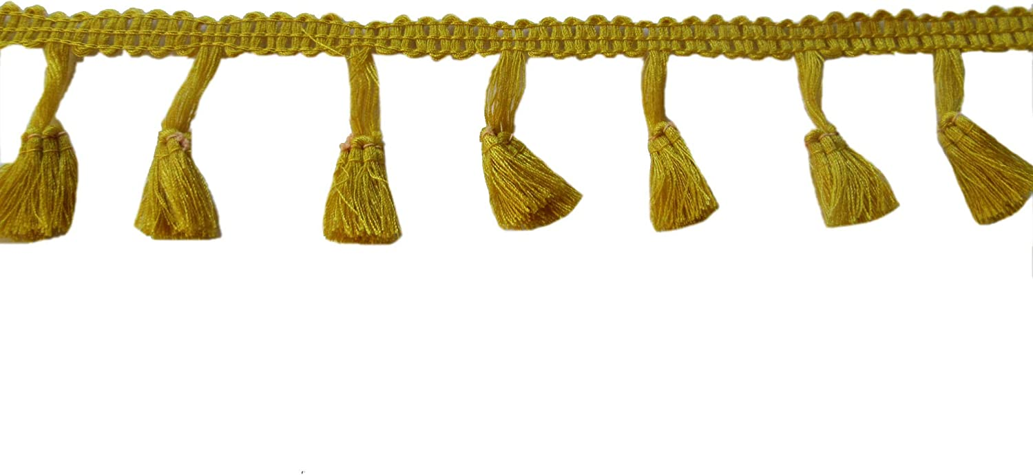 Mustard Yellow YYCRAFT 10 Yards Tassel Fringe Trim Ribbon for Curtain Clothes Sewing Craft