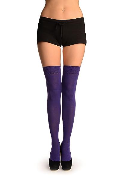 Plain Purple Over The Knee Socks - Morado Calcetines hasta la rodilla Talla unica (37