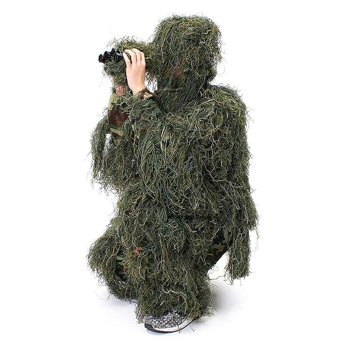 JenNiFer Woodland Camo Camuflaje Ropa 3D Árbol Caza Adultos Ghillie Suit: Amazon.es: Coche y moto