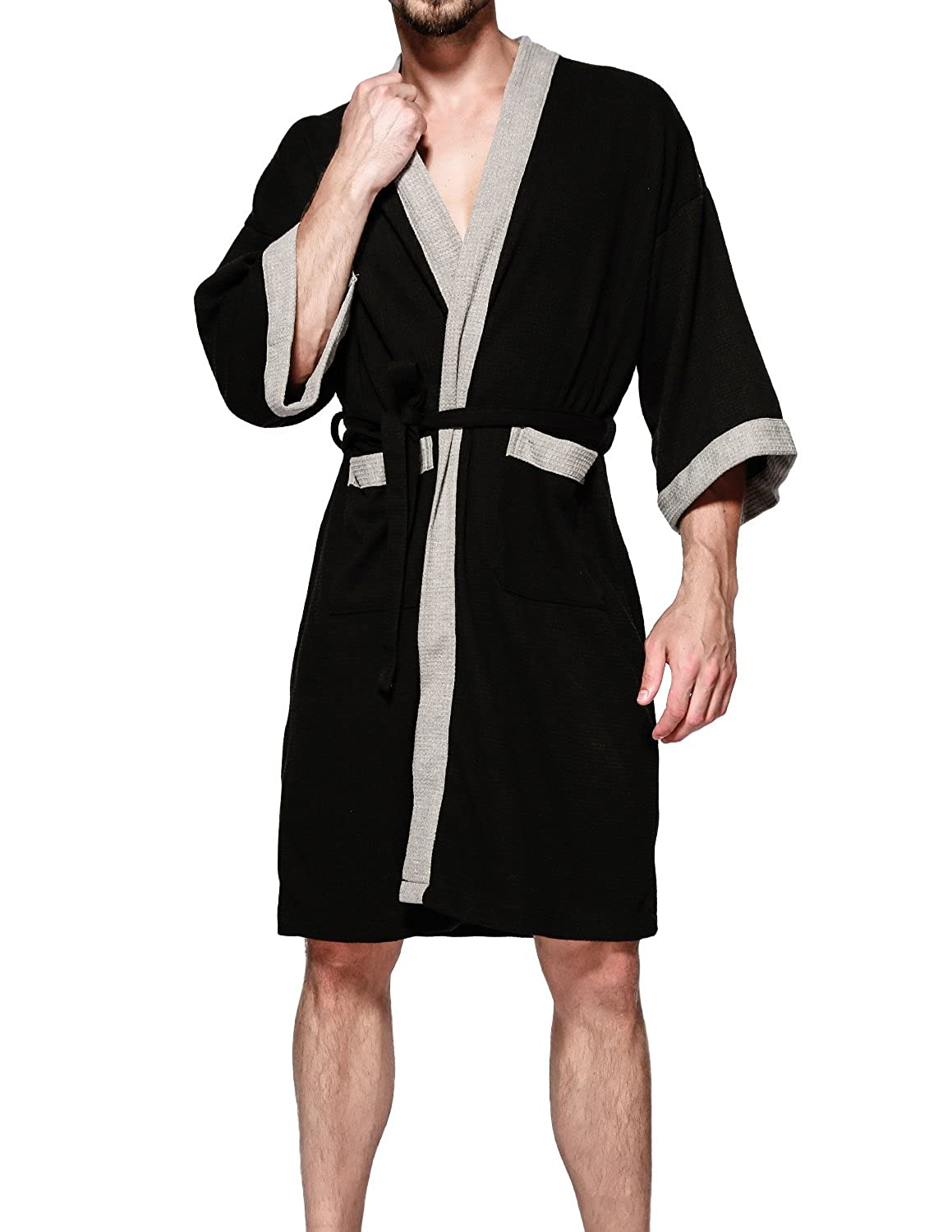 2ea656f3a4 Top1  Earlish Men s Kimono Robe Soft Cotton Knit Waffle Weave Knee Length  Spa Robe. Wholesale Price 29.99 60%Cotton 40%Polyester Imported Tie closure
