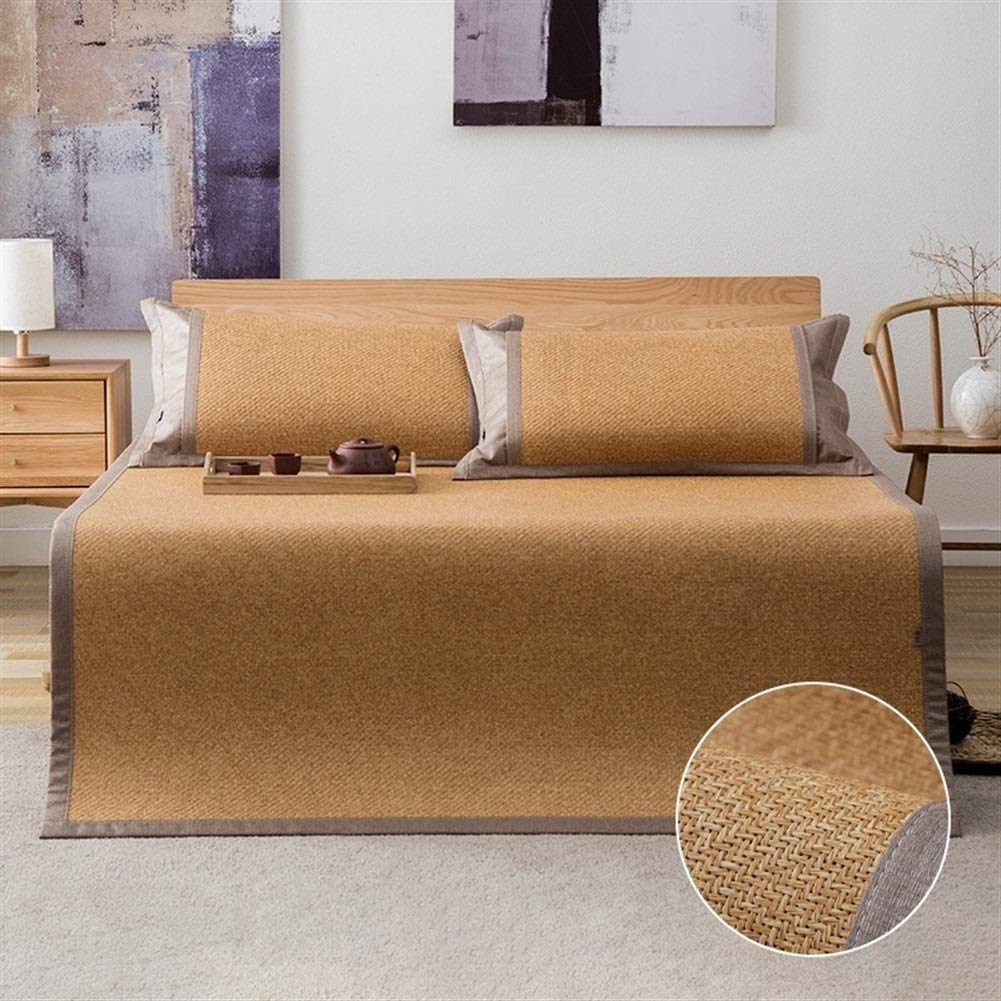 VIVIANE Grass Rattan Seats 1.5 Meters Three-Piece Folding 1.8m Mat Double Air Conditioning Soft Seats 1.2 Student Dormitory Single (Color : Wood, Size : 120195cm) by VIVIANE