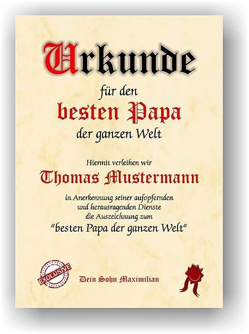 Urkunde Fur Den Besten Papa Der Ganzen Welt Geschenkurkunde Zum