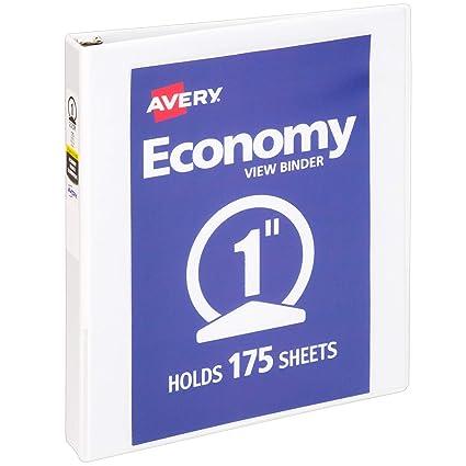 amazon com avery economy view binder with 1 inch round ring white