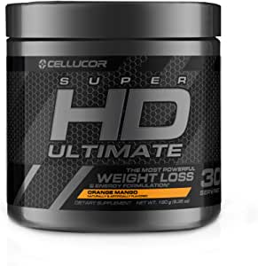 Cellucor Ultimate SuperHD Powder for Men & Women, weight Loss Fat Burner Supplement With Nootropic Focus + Energy, G3, Orange Mango, 30 Servings