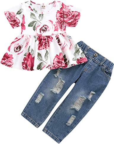 2Psc Outfits Set Floral Print Ruffle Short Sleeve Tops Ripped Jeans Denim Pants for Girls 1-4T Toddler Baby Girl Clothes