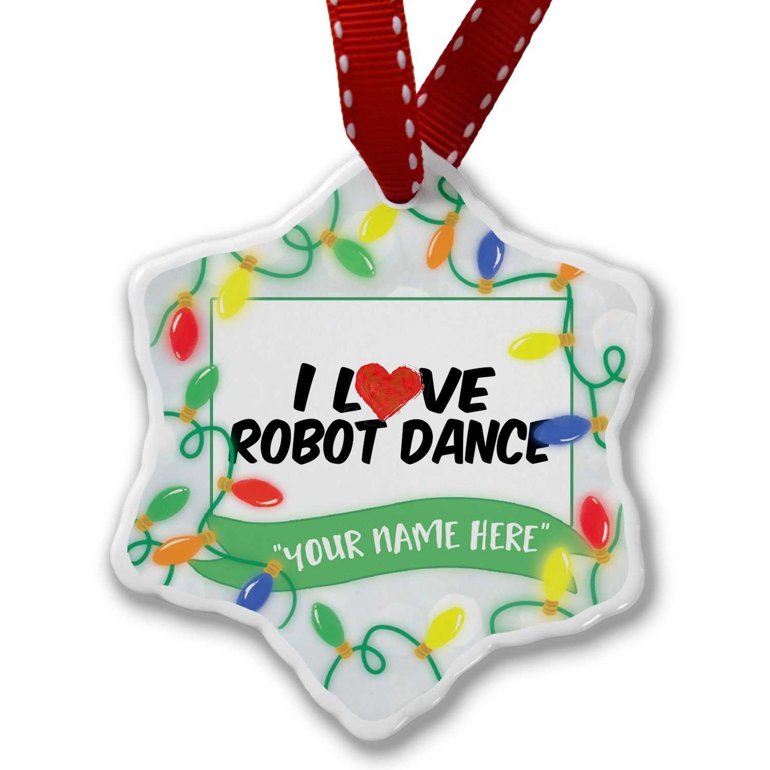 Personalized Name Christmas Ornament, I Love Robot Dance NEONBLOND