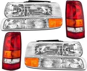 Epic Lighting OEM Style Replacement Headlight Signal Marker Light Tail Light Combo Set for 1999-2002 Chevrolet Silverado [ 6-Piece ] Driver and Passenger Sides