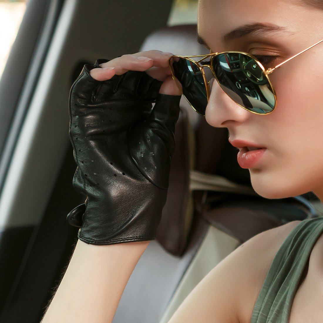 Nappaglo Womens Classic Half Finger Leather Driving Gloves Fingerless Lambskin Fitness Outdoor Unlined Gloves