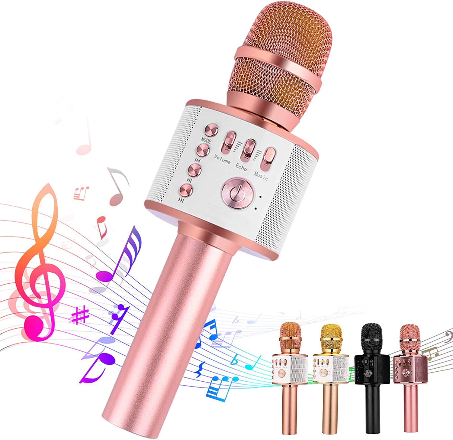 Q9 Gold Wireless Karaoke Microphone Besteker Portable Bluetooth Speaker Machine for iPhone Android PC and Smartphone
