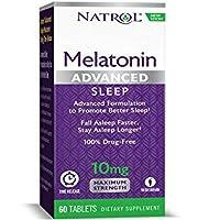 Natrol Advanced Sleep Melatonin Tablets, Maximum Strength 10 mg 60 ea ( Pack of 2)