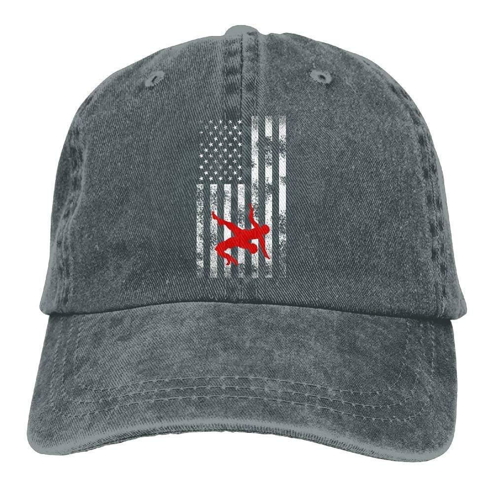 Eveler Wrestling Wrestler USA Flag Pride Classic Unisex Baseball Cap Adjustable Washed Dyed Cotton Ball Hat by Eveler