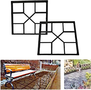 ounewxy Concrete Molds Stepping Stone Pavers DIY Walkway Pavement Paving Moulds, 2 Pack