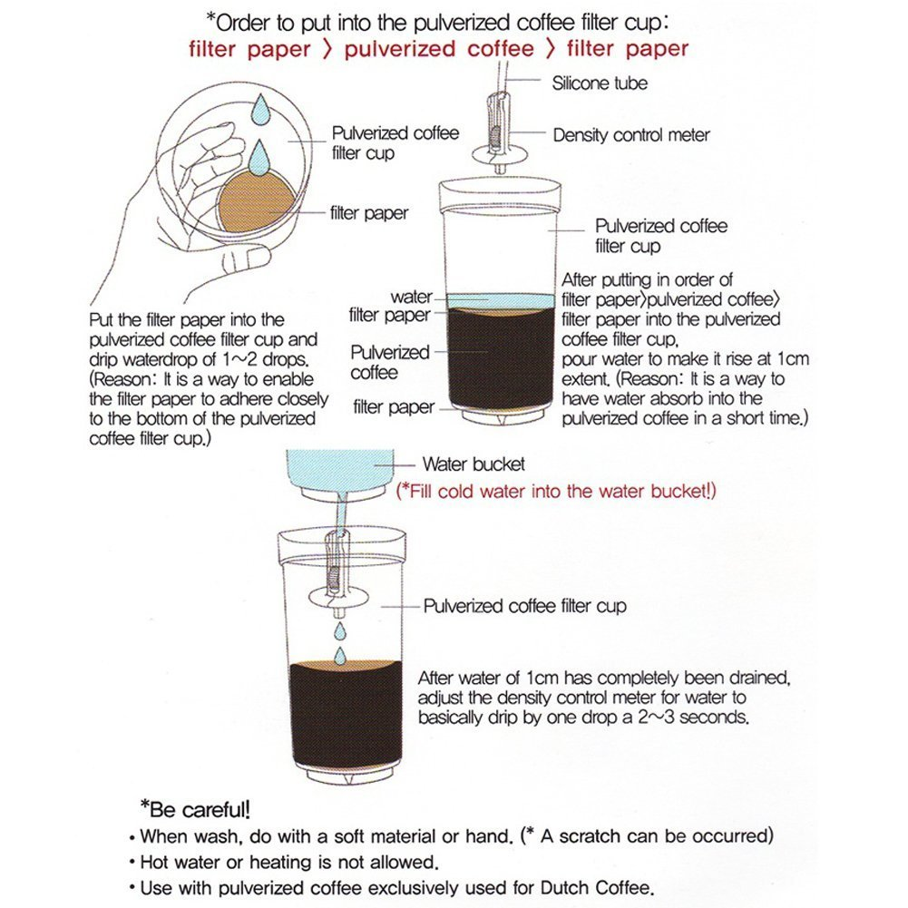 GTBeans Miracle 700 Cold Brew Dutch Coffee Maker Hand Drip SET 24 oz with Tamper filter by GTBeans (Image #4)
