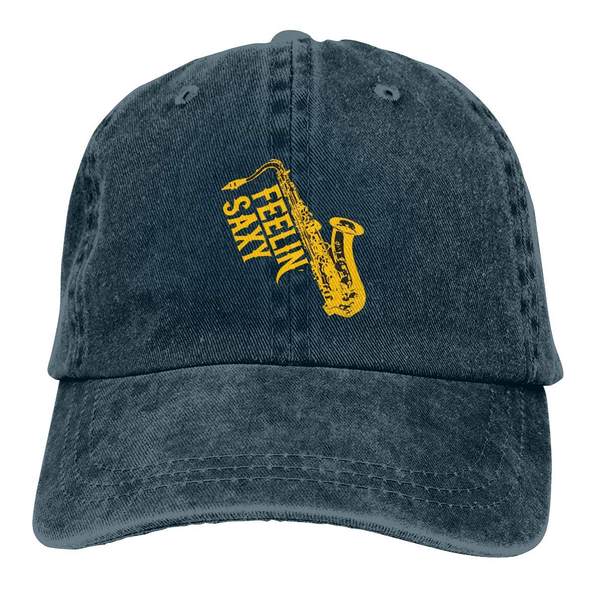 Feelin Saxy Saxophone Fashion Adjustable Cowboy Cap Denim Hat for Women and Men