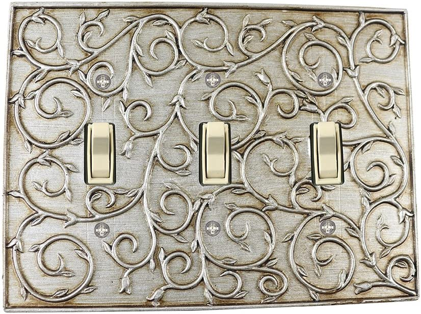 Meriville French Scroll 3 Toggle Wallplate, Triple Switch Electrical Cover Plate, Aged Silver