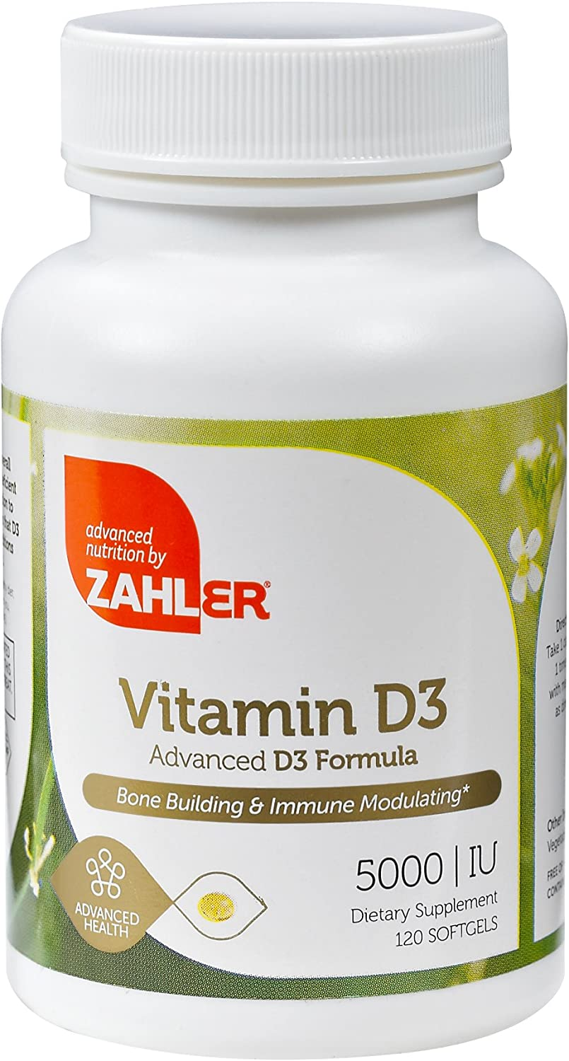 Zahler Vitamin D3 5,000IU, All-Natural Supplement Supporting Bone Muscle Teeth and Immune System,Advanced Formula Targeting Vitamin D Deficiencies, Certified Kosher, 120 Softgels