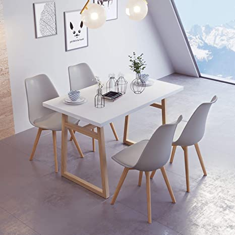 Jeffordoutlet Dining Table And Chairs Set Of 4 Chairs Modern Home Kitchen Living Room Furniture White Wooden Table Set Of 4 Gray Soft Chairs