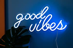 Good Vibes Neon Signs for Bedroom Wall Decor,Powered by USB 3D Art Neon Light, Ice Blue Color,16
