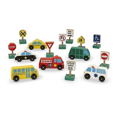 Melissa & Doug Wooden Vehicles & Traffic Signs: Melissa & Doug: Toys & Games