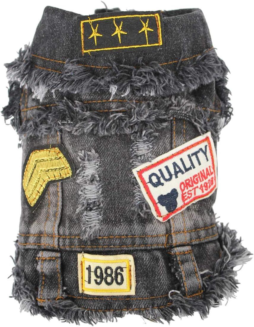 Dog Denim Hoodies Denim Vest Pet Fashion Outfit Puppy Jacket Dog Jumpsuit Pet Coat Overall for Small//Medium Dog /& Cat