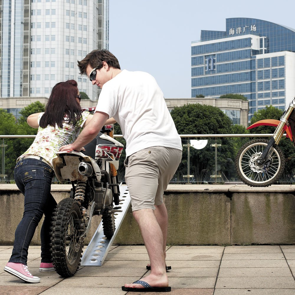 Rampa carga motocicletas 163 cm 180kg ATV Aluminio Plegable Quads Motos Veh/ículos Ayuda transporte