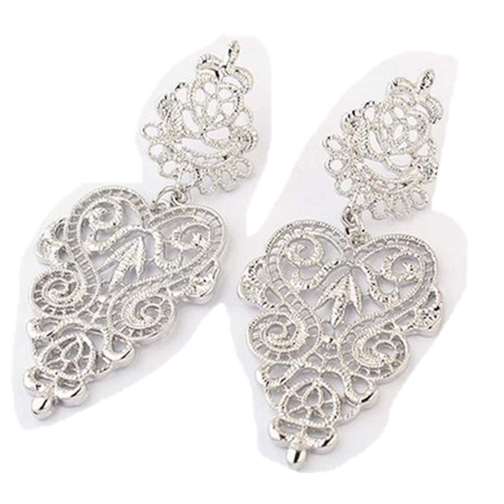 BSGSH Boho Chic Hollow Flower Shape with Drop Stud Earrings Fashion Jewelry for Women Girls (Silver)