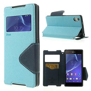 NessKa® Hülle Für Sony Xperia Z5 | Hülle in Baby Blau | Handyhülle mit Kartenfach Fenster und Standfunktion Schutzhülle Flip