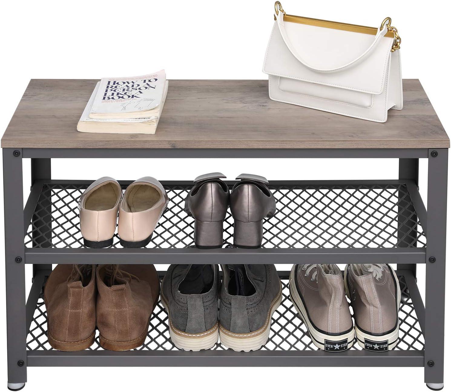 VASAGLE Banco para Zapatos Estante de Zapatos de 3 Niveles Organizador de Almacenamiento con Asiento y Estantes Greige y Gris